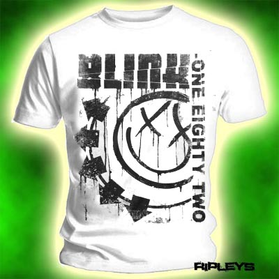 Official T Shirt BLINK 182 White 3 BARS Spelled Out S Enlarged Preview